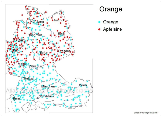 distribution of 'Orange' and 'Apfelsine'